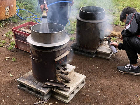 田んぼ作業、籾の消毒と短冊切り