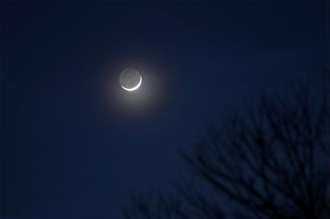 夕方の細い月