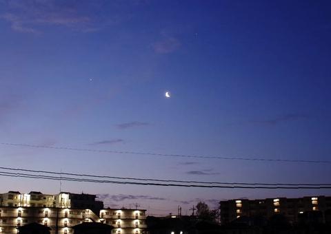 4月7日、朝と夕の天体観望